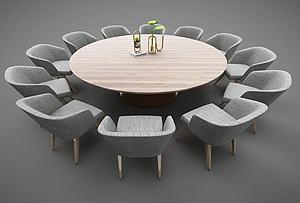 現代風格圓形餐桌模型3d模型