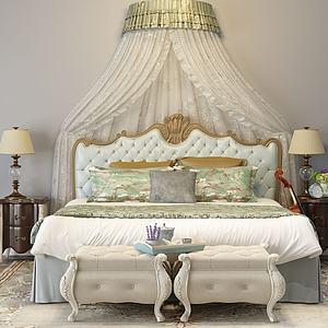 美式床3d模型