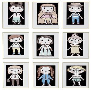 美式兒童房卡通人物掛畫模型3d模型