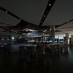 高端餐廳3d模型