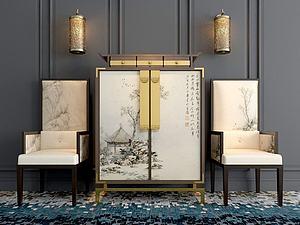 現代中式風格邊柜單椅組合模型3d模型
