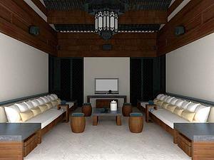 現代中式客廳模型3d模型