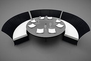 現代弧形卡座模型3d模型