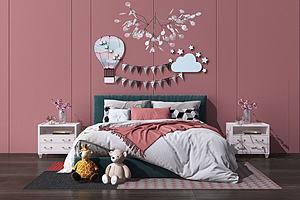 歐式床兒童床模型3d模型