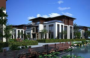 新中式别墅小区透视模型3d模型