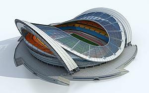现代体育馆足球场模型3d模型