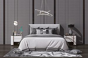現代雙人床抱枕組合模型3d模型
