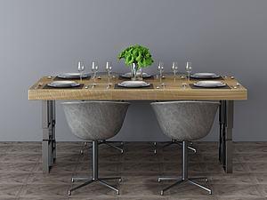 餐桌組合模型3d模型
