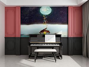 家具組合鋼琴模型3d模型