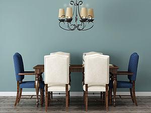 餐桌美式模型3d模型