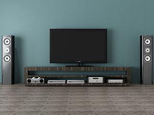 電視柜電視背景墻模型3d模型