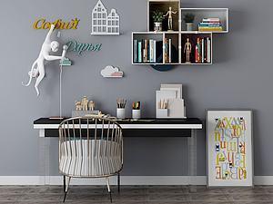 家具組合辦公桌模型3d模型