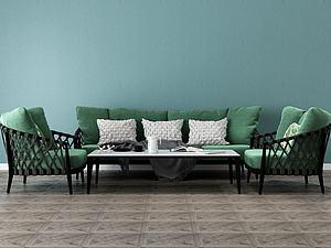 藍色布藝精品沙發模型3d模型