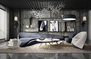 現代經典客廳模型3d模型