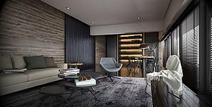 現代客廳書房模型3d模型