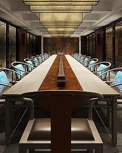 現代中式會議室會議桌組合模型3d模型