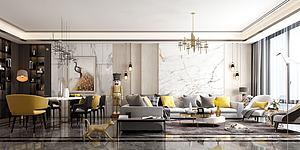 客餐厅大户型金黄模型3d模型