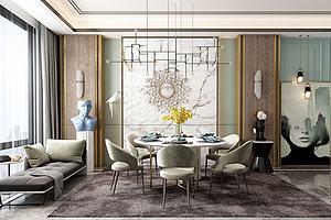 现代餐厅模型3d模型