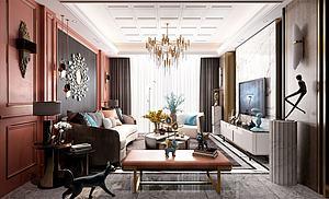 简欧客厅模型3d模型
