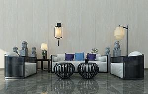 新中式沙發茶幾組合模型3d模型