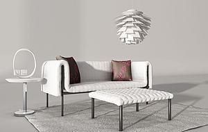 現代休閑沙發腳凳組合模型3d模型