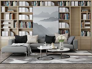 沙发书架模型3d模型