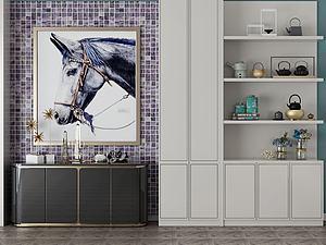 家具飾品組合玄關柜模型3d模型