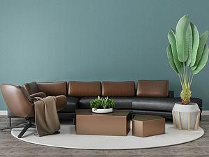 家具饰品组合休闲沙发模型3d模型