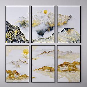 中式裝飾畫3d模型