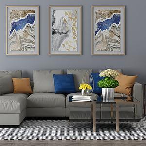 家具飾品組合沙發組合3d模型