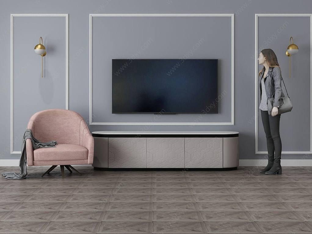 家具飾品組合電視背景墻
