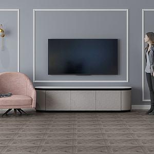 家具飾品組合電視背景墻3d模型