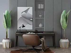 家具饰品组合办公桌模型3d模型