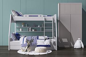 现代男孩儿童床模型3d模型