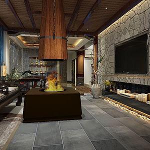 精品中式大廳3d模型