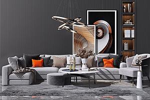 现代沙发组合模型3d模型