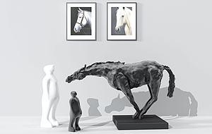 现代人物马雕塑?#19968;?#25670;件模型3d模型