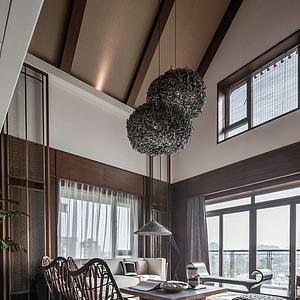 新中式别墅度假风格客厅模型
