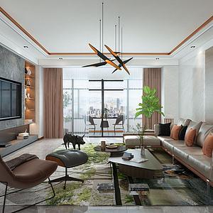 现代风格的客厅模型