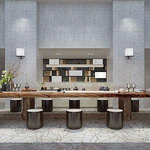 新中式茶桌椅组合模型