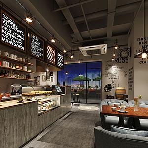 工业咖啡厅模型