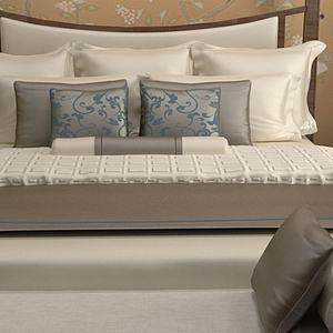 新中式双人床组合3d模型