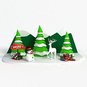 3d<font class='myIsRed'>圣诞</font>节商场展示模型