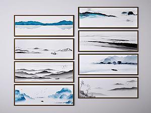 新中式山水画模型3d模型