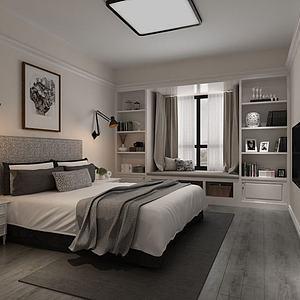 臥室黑白格調3d模型