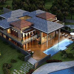 新中式别墅会所3d模型