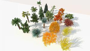 现代室外精品树木组合模型3d模型
