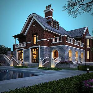 英式別墅3d模型