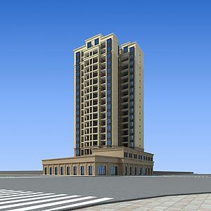 沿街住宅模型模型3d模型