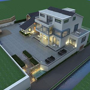 鸟瞰民宿模型3d模型